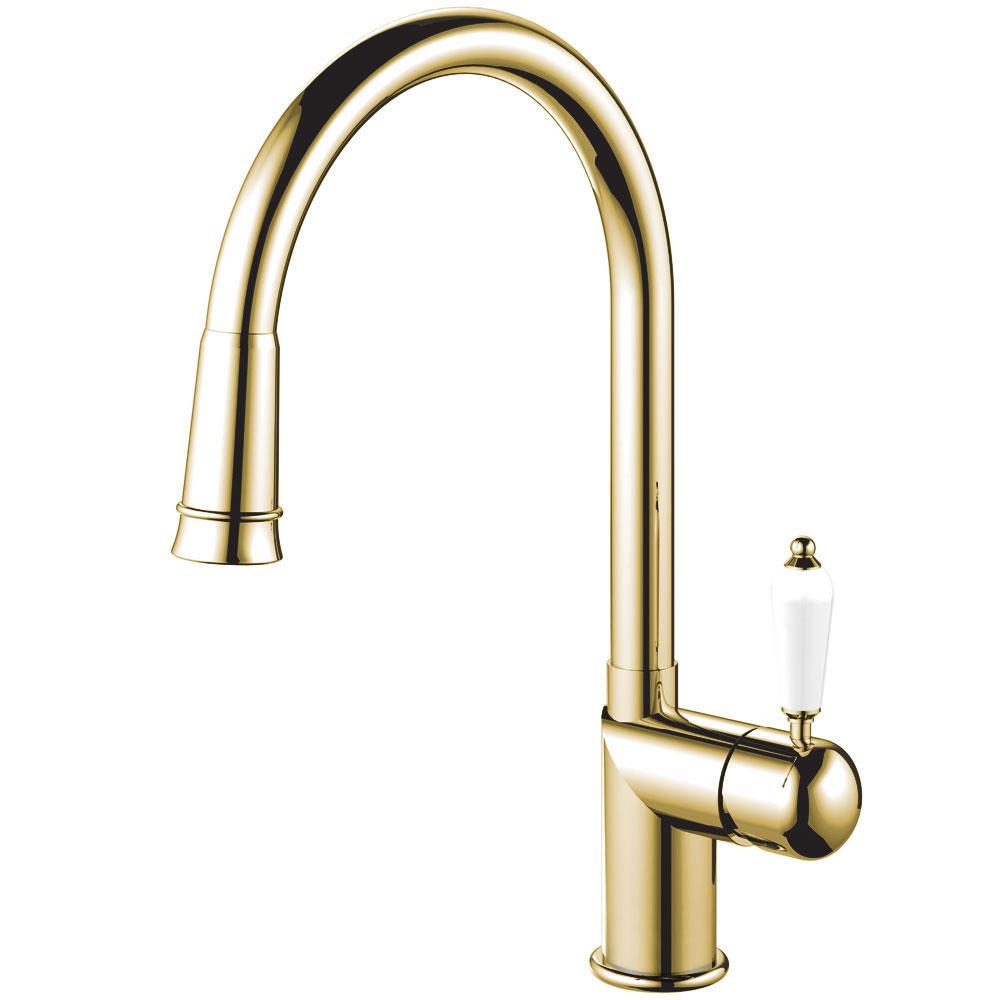 Mosadz/Zlaté Kuchyňa Vodovodný Kohútik Výsuvná hadica - Nivito CL-260 White Porcelain Handle Color