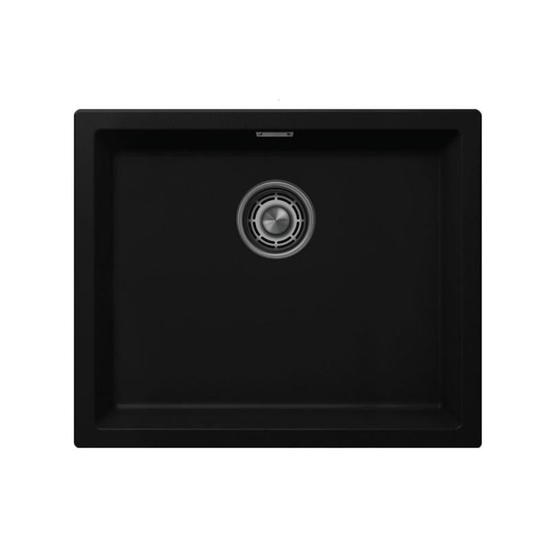 Čierne Kuchyňa Umývadlo - Nivito CU-500-GR-BL Brushed Steel Strainer ∕ Waste Kit Color