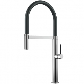 Kuchyňa Vodovodný Kohútik Výsuvná hadica / Leštené/Čierne - Nivito SH-210